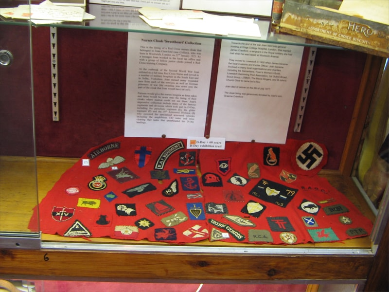 British Nurse's Cloak Lining Displaying Sweetheart Badge Gifts From Her Patients